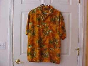 Puritan Men's Hawaiian Button Shirt Palm Trees Orange & Green Color Sz M