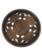 Hand Carved  Wood Art Sculpture Hanging Wall Plaque Decor Round Leaves Grapes