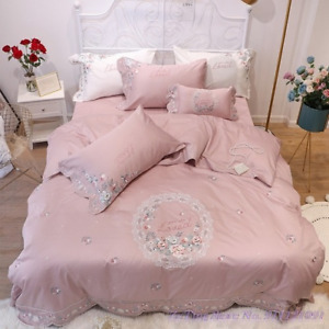 Bedding Set 4pcs Pastoral Princess Satin Long-Staple Cotton Mbroidered Cover