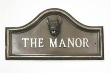 Bronze Finish English Bull Terrier Dog Arched House Name Plaque