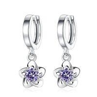 Women 925 Sterling Silver Shiny Floral Flower Dangle Drop Earrings Ladies Gift