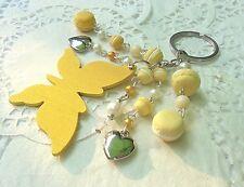 PORTE clé CLEFS papillon Macarons en Fimo + perles idée cadeau Unique Neuf!