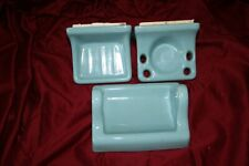 Vintage  Porcelain Ceramic 3 piece bathroom fixtures toilet paper holder, soap
