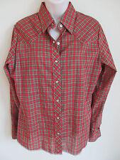 Vintage Wrangler Womens Pearl Snap Plaid Shirt, Red Green Western Rockabilly 38