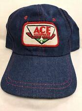 Rare Vintage Ace Hardware Denim Trucker Hat Baseball Cap Snapback Mesh Young An