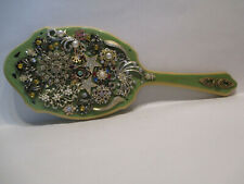 Vintage Beveled Celluloid/Bakelite Hand Jeweled Vanity Mirror One-Of-A-Kind