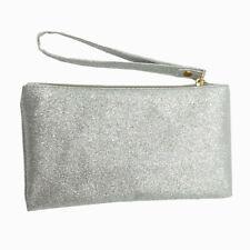 SILVER GLITTER EFFECT CLUTCH BAG WITH WRIST STRAP WRISTLET