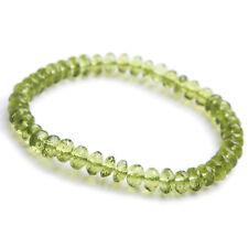 100% Natural Peridot Green Crystal Woman Clear Abacus Beads Bracelet 6mm AAAAA