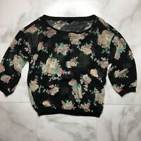 Iris Los Angeles Women's Modest Crop Top Black floral mesh 3/4 sleeve size small