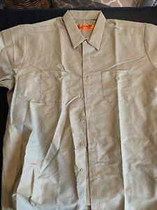 Khaki Red Kap Work Shirt Uniform Short Long Sleeve 3XL