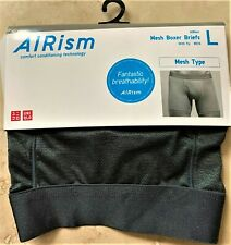 Uniqlo Airism Men's Boxer Briefs Underwear (L-Gray) w/Fly (Breathable-Mesh Type)