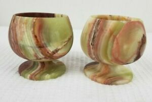 """2 Vintage  Pale Green and Brown Onyx Marble Stone Shot Cordial Goblet 2.75"""""""