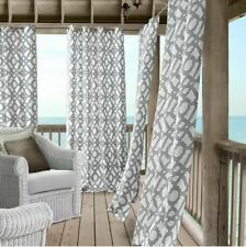 Elrene Marin Ironwork Indoor/Outdoor Window Curtain Panel Gray White Print 84""
