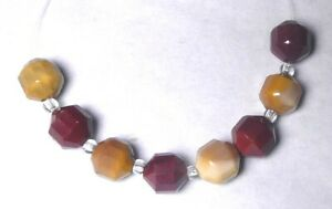 8 Gorgeous 8mm Natural MOOKAITE ENERGY TUBE Gemstone Beads w/Spacers