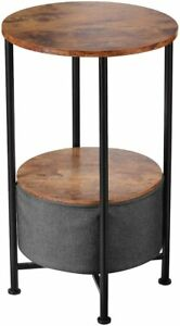 Modern Retro Side Table Round Coffee Storage Plant Lamp Phone Stand Furniture