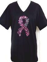 PLUS 1X 2X 3X Embellished Rhinestone Pink Floral Breast Cancer Hope Ribbon Top
