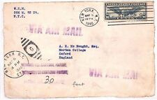 AU37 1940 USA *NEW YORK* Air Mail Oxford GB Cover {samwells-covers}PTS