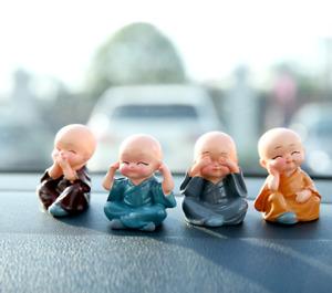 4pc Cute Monk Garden Ornament Buddha Car Decor Statue Kung Fu Miniature Craft UK