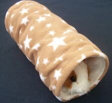 COZY PETS guinea pig tunnel bed house rat,ferret,fleece play,tube,toy brown star