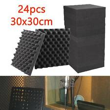More details for 24x acoustic wall panel tiles studio sound proofing insulation foam pads 30x30cm