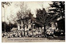 1900s PENTWATER Michigan HIGH SCHOOL Antique Postcard Historic PEOPLE Children