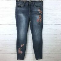 NEW Nine West Women's Jeans Gramercy Skinny Jeans Pink Floral Embroidered 6