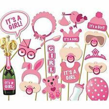 20PCS Baby Shower Girl Photo Booth Props Selfie New Born Party Game Decoration