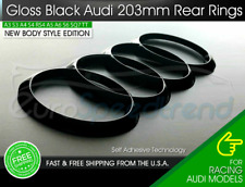 GREATCO REAR RINGS FLAT 190mm Gloss Black for S LINE Quattro RS3 A4 S5 RS6 S7 R8 Q3 Q5 etc Pack of 1 Car Styling Vehicle Logo Emblem Badge Car Accessories Decoration