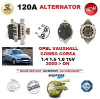 FOR OPEL VAUXHALL COMBO CORSA C 1.4 1.6 1.8 2000-> NEW 120A ALTERNATOR UNIT