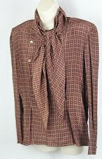 Vintage G. Gucci silk blouse brown with scarf double breasted buttons sz 46, L