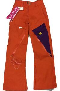 NEW Static Snowboard Pant Orange Purple  Womens XXS / Youth L 10000mm Waterproof