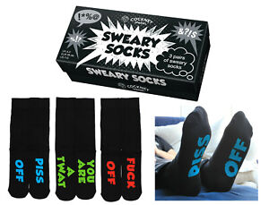 MENS NOVELTY SOCKS 3 PAIRS OF SWEARY SOCKS RUDE  FOR MEN UK 6 -11 GIFT BOXED