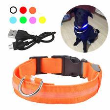USB Rechargeable LED Dog Pet Collar Flashing Luminous Adjustable Safety Light