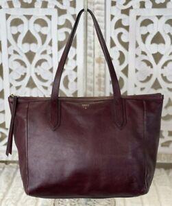 FOSSIL SYDNEY Raisin Wine Leather Shopper Tote Shoulder Handbag Carryall Purse