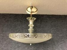 """Vintage 16"""" Art Deco Glass Chandeiler Ceiling Fixture Lamp"""