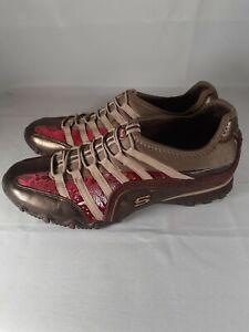 Skechers Womens Shoes 21481 BRZ Size 8 Dark/Lite Brown Floral Slip On