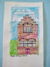 """""""Old Red Brick House"""" 5x8 in.Watercolor/Ink on vintage book page OOAK"""