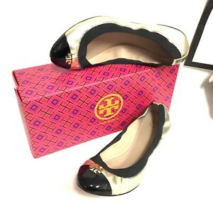 Tory Burch 2 Tone Black Patent Leather and Gold Leather Ballet Flats Size 9M