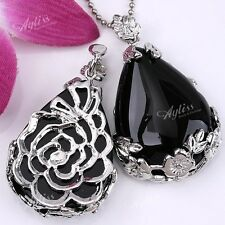 1pc Teardrop Black Agate Flower Wrap Drop Bead Gemstone Jewerly Pendant Gift