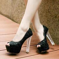 Princess Womens Thick High Heels Platform Peep Toe Floral Lace Party Court Shoes