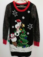 NWT Women's Ugly Christmas Sweater Tunic Snowmen Christmas Tree XS New MSRP$50