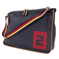 FENDI Logos Pattern Shoulder Bag Navy Canvas Denim Italy Authentic #SS606 Y