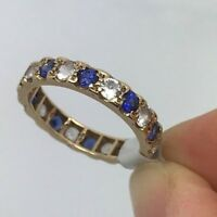Vintage 9ct Eternity Ring White & Blue CZ Stones - Size: N Hallmark c.1970s