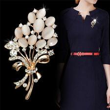 Opal Stone Rhinestone Gold Flower Bouquet Brooch Pin.Wedding Bridal Gift DSUK
