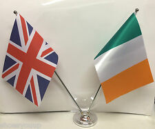 United Kingdom & Ireland Tri Colours Chrome and Satin Table Desk Flag Set