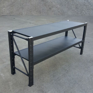 Matte Black Metal Warehouse Workbench Shelving Rack Work Bench Stand Workbenches