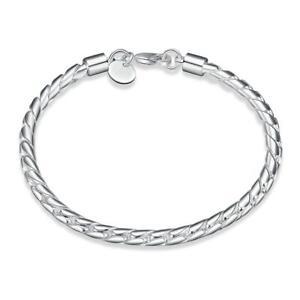 """925 Sterling Silver Bracelet Twisted Spiral Chain Link 8 """" UK Seller"""