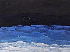 "NIGHT OCEAN WAVE Original Palette Knife Oil Sea Painting 9""x12"" Julia Garcia Art"
