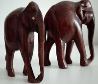 pair of vintage Asian wood carved wild elephants sculpture statue handmade
