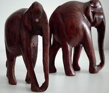 2 vintage Asian wood carved elephants sculpture statue handmade handcraft